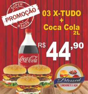 3 X-Tudo com Coca Cola 2L